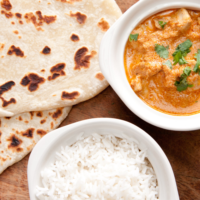 """""""butter chicken and naan"""" stock image"""