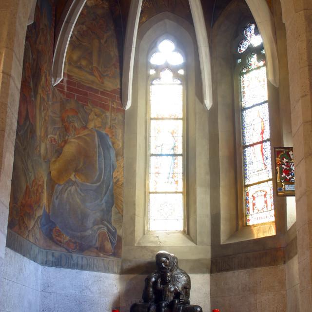 """Virgin Mary with baby Jesus, Zagreb - St. Mark church"" stock image"