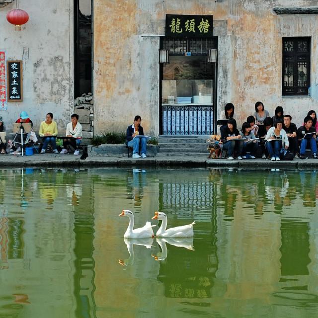 """Painter in Hongcun Village, China"" stock image"