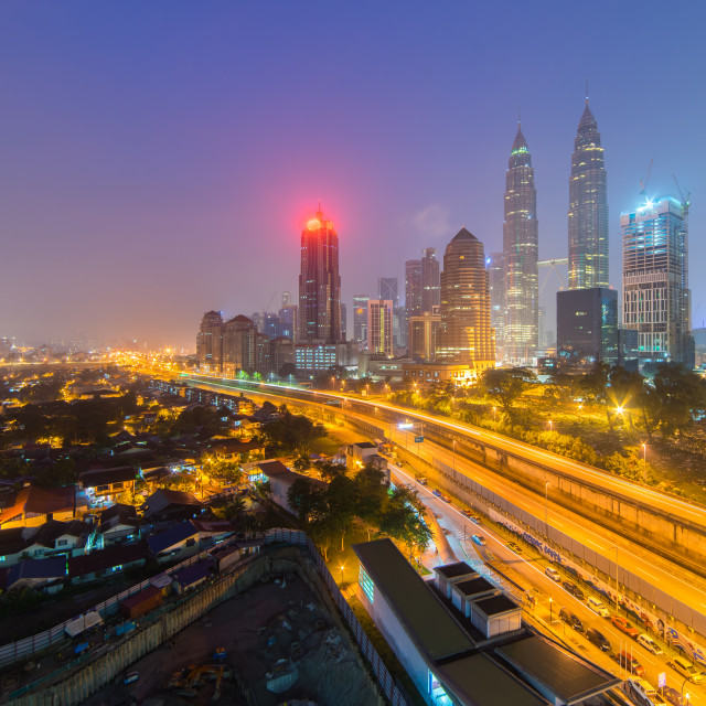 """Aerial view of hazy sunrise at Kuala Lumpur city skyline"" stock image"