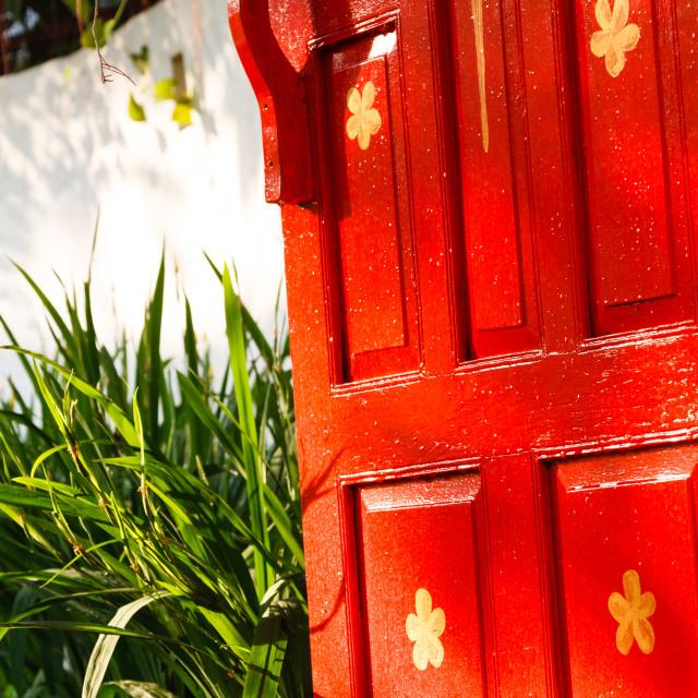 """""""Painted red door"""" stock image"""