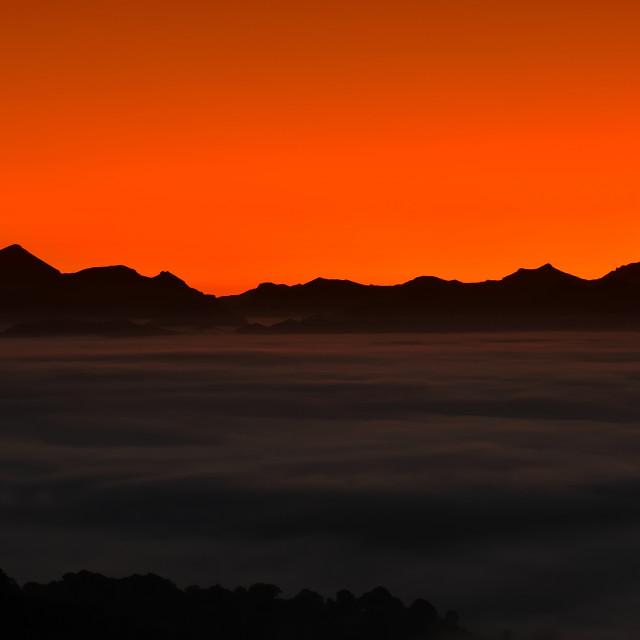 """""""Amazing scene of evening mountainscape"""" stock image"""