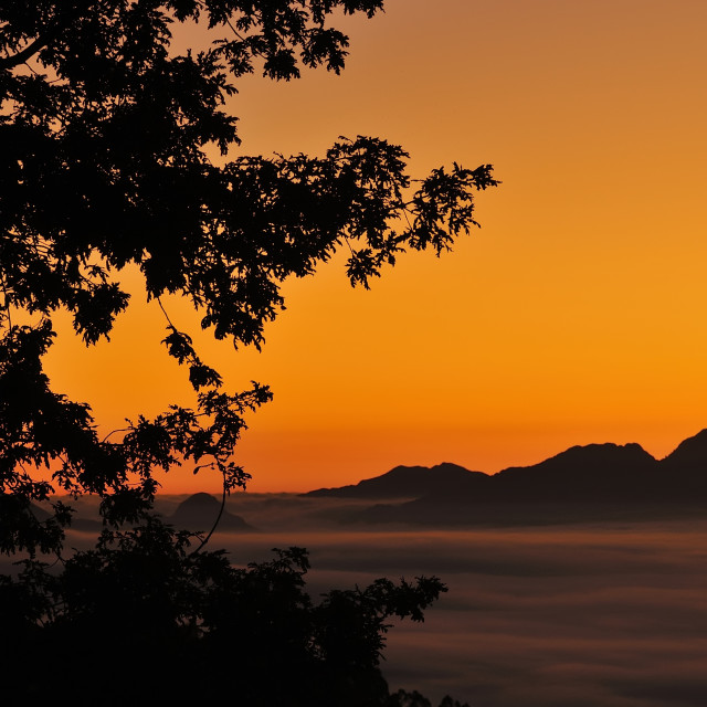 """Beautiful view on mountain silhouette"" stock image"