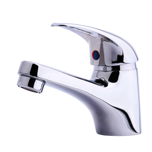 """""""Modern stainless steel tap. Isolated on white background."""" stock image"""