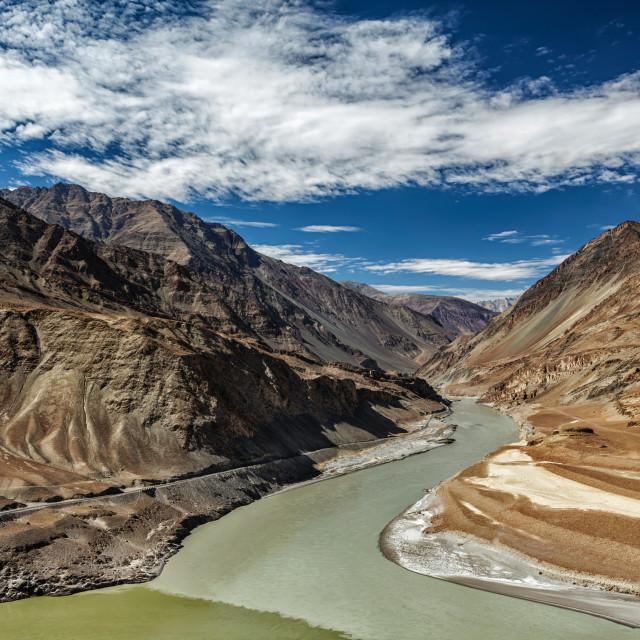 """Confluence of Indus and Zanskar Rivers, Ladakh"" stock image"