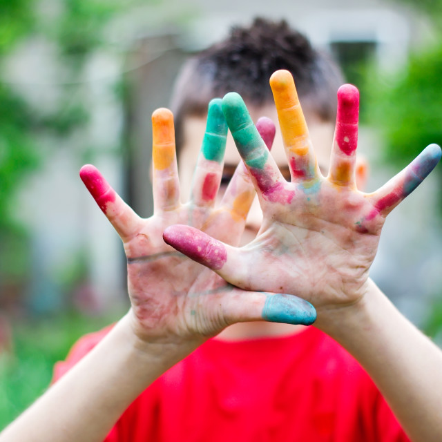 """Colored child's hands"" stock image"