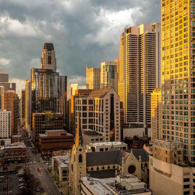 """Chicago Skyscrapers in the evening sun"" stock image"