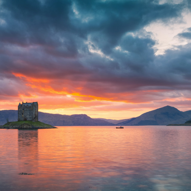 """Castle Stalker Fiery Sunset Pano#2"" stock image"