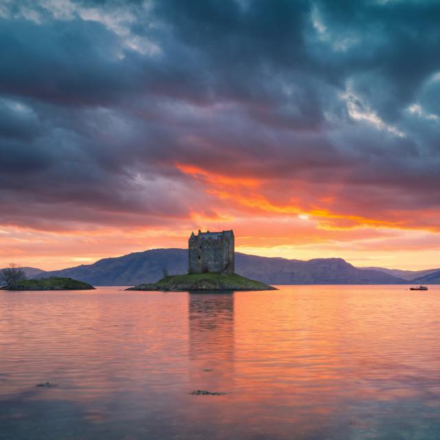"""""""Castle Stalker Fiery Sunset Pano - Full Width"""" stock image"""