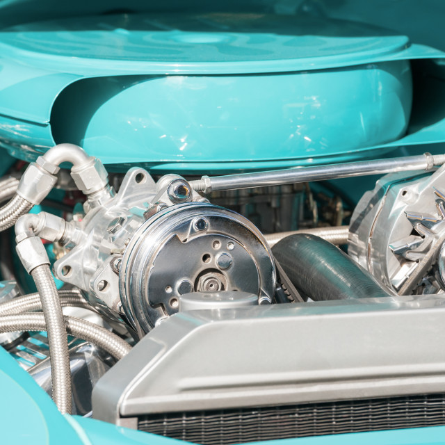 """chrome and blue engine bay"" stock image"