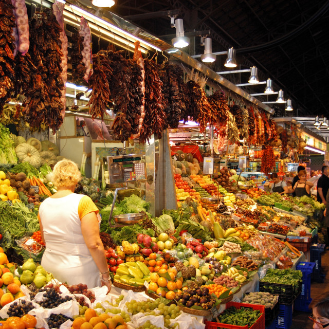 """La Boqueria Indoor Food market in Barcelona"" stock image"