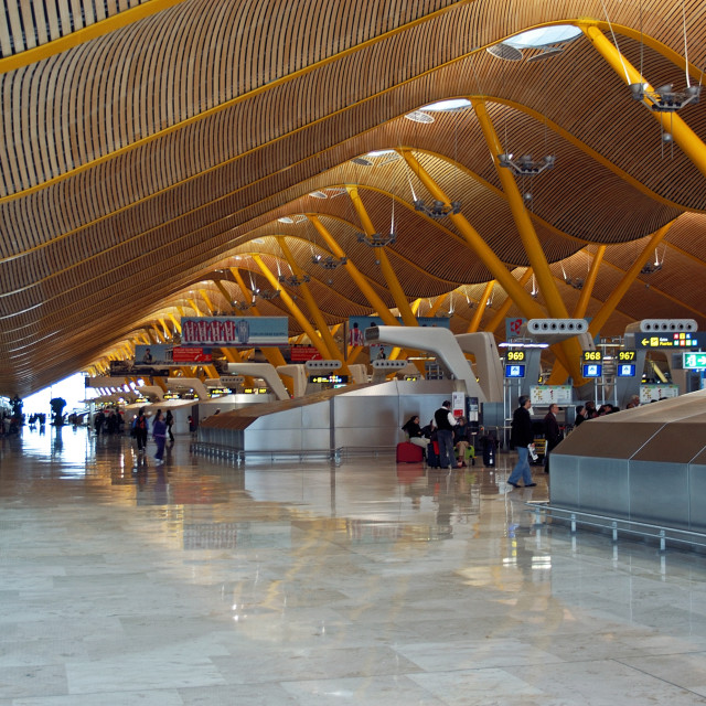 """Interior of terminal 4 at Madrid Barajas Airport, Spain"" stock image"