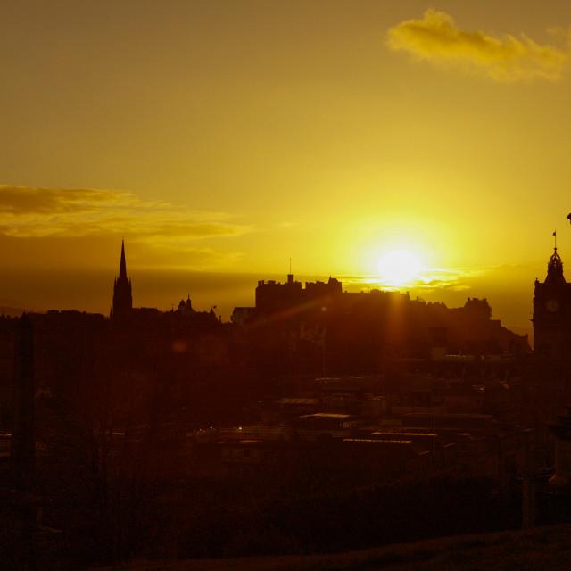"""Edinburgh Castle Sunset"" stock image"