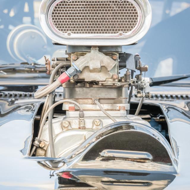 """old supercharged vehicle engine"" stock image"