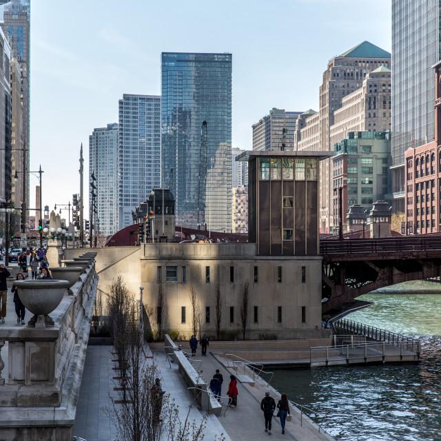 """Chicago, reflected sunlight"" stock image"