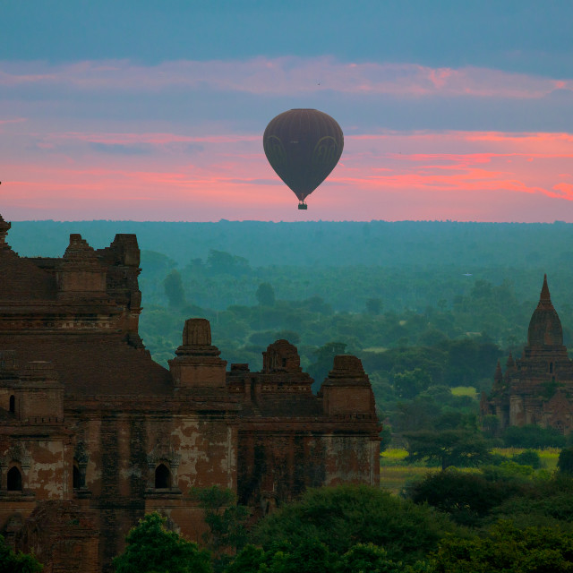 """Ballooning over Bagan"" stock image"