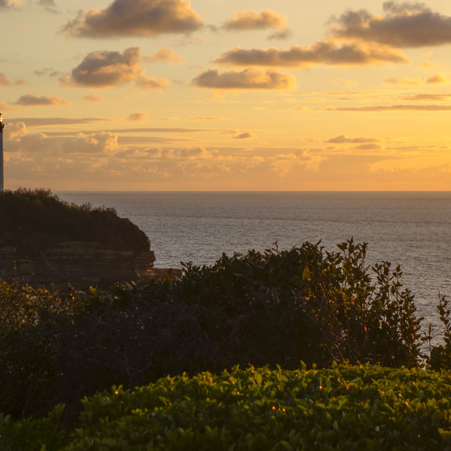 """Lighthouse of Biarritz, French Basque coast at sunset. France."" stock image"