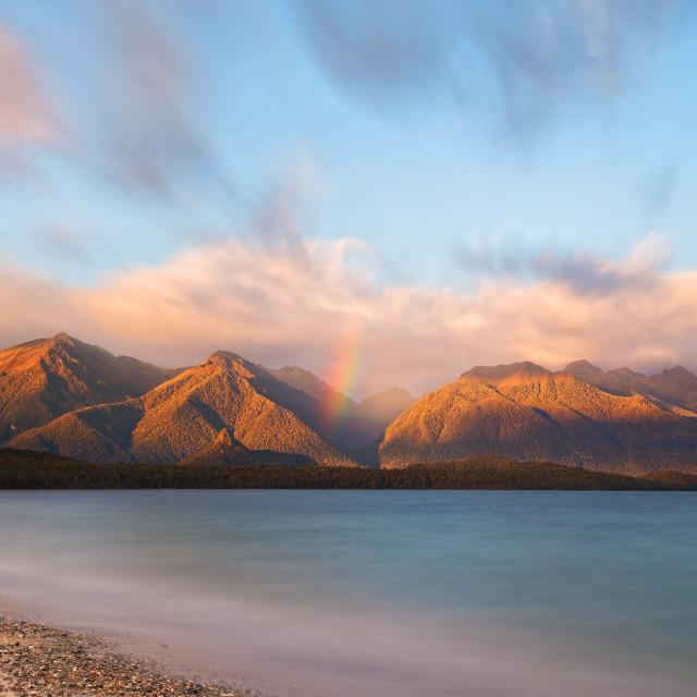 """Dawn at Lake Manapouri New Zealand"" stock image"