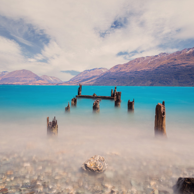 """Old Jetty at Glenorchy"" stock image"