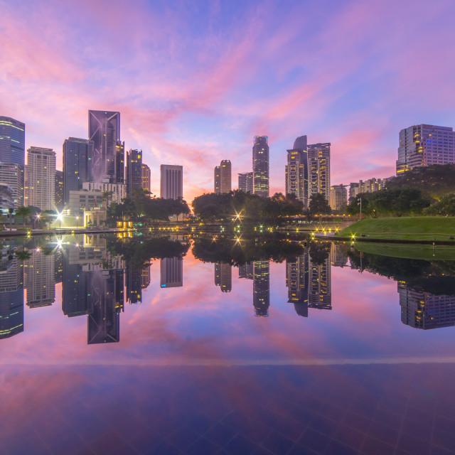 """""""Majestic Pink Sunrise at Kuala Lumpur"""" stock image"""
