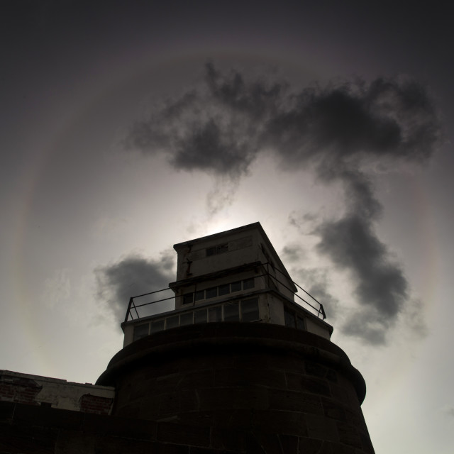 """Fort Perch Rock Sun Halo"" stock image"