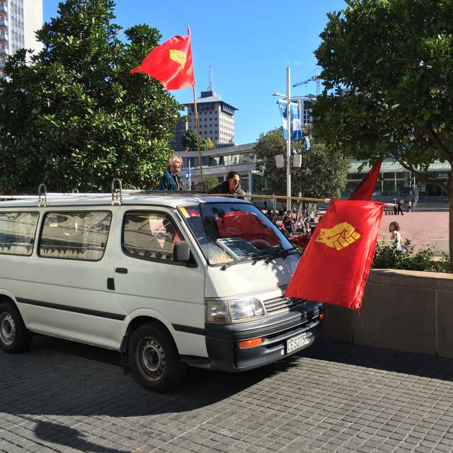 """""""Socialist Aotearoa Banner"""" stock image"""