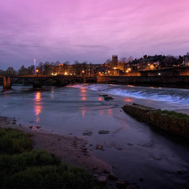 """The Old Dee Bridge and Weir at Chester"" stock image"