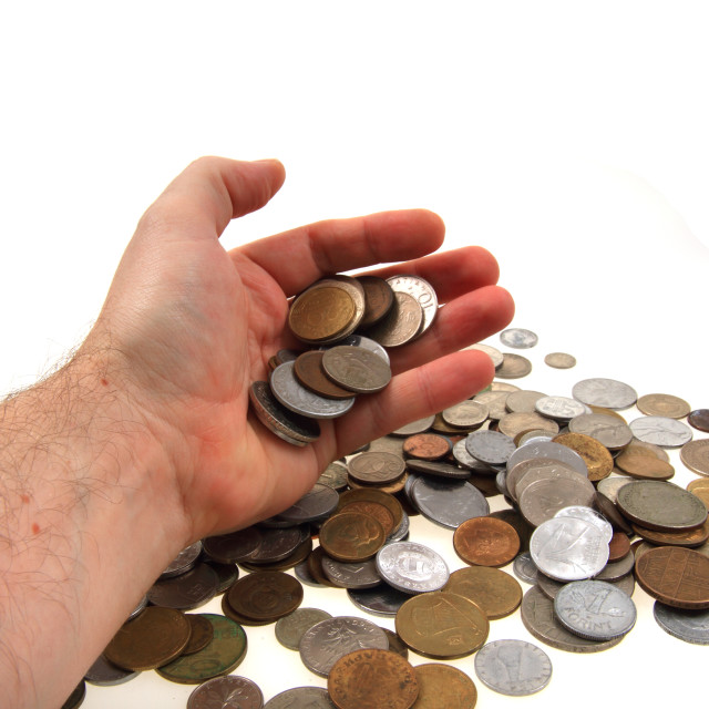 """old european coins in my hand"" stock image"