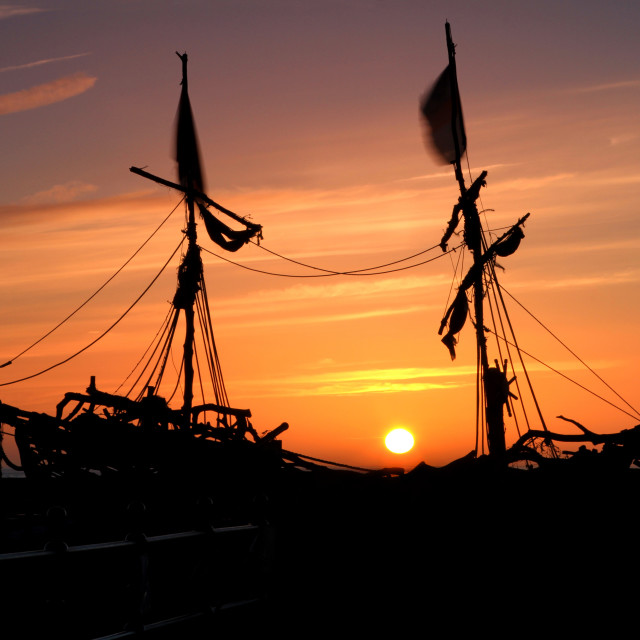 """Pirate Ship Sunset"" stock image"