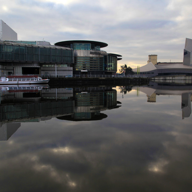 """Salford Quays Reflection"" stock image"