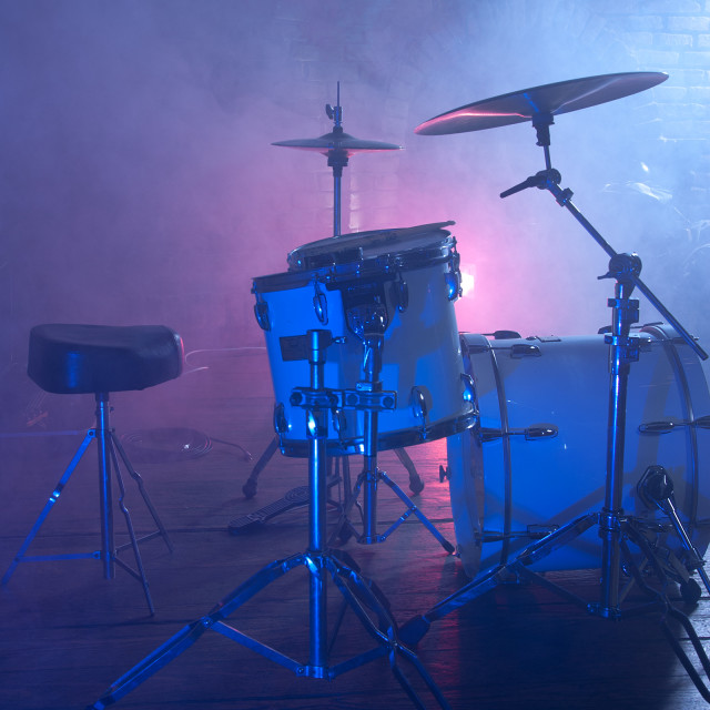 """Drum set on stage"" stock image"