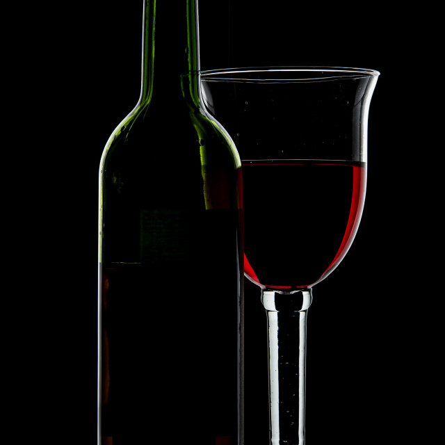 """""""Wine glass and bottle."""" stock image"""