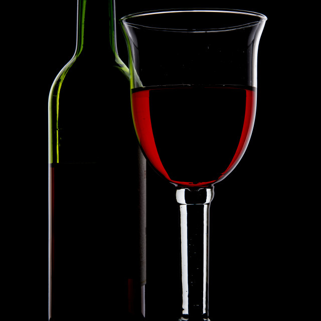 """""""Bottle of Wine and Glass."""" stock image"""