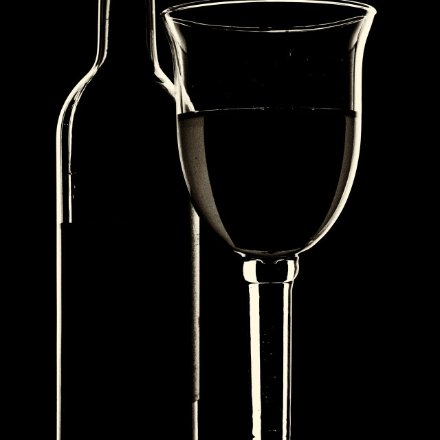 """""""Bottle of Wine and Glass - yellowed"""" stock image"""