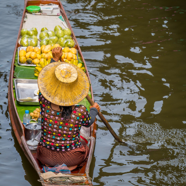 """Damnoen Saduak floating market in Ratchaburi near Bangkok"" stock image"
