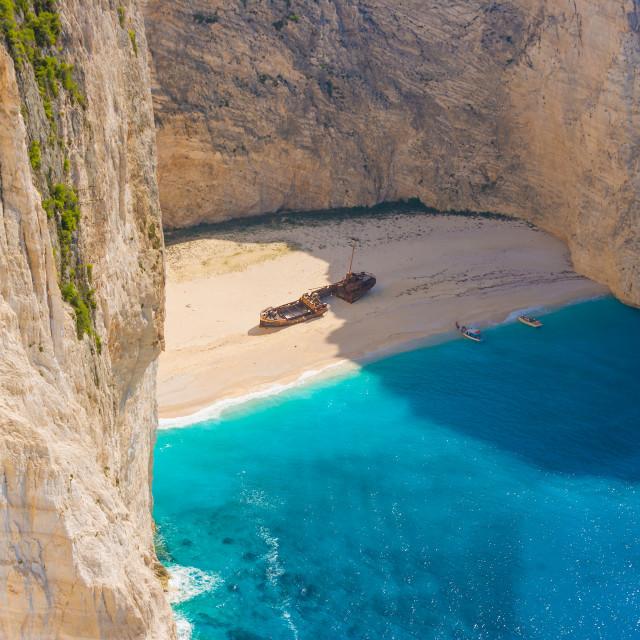 """Amazing beach Navagio in Zakynthos"" stock image"