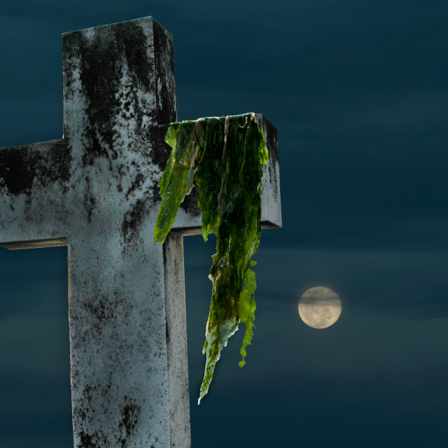 """""""A weed-covered tombstone lit by the light of the full kmoon"""" stock image"""