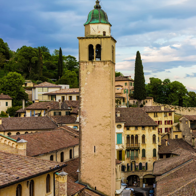 """""""View a picturesque italian village and of its bell tower"""" stock image"""