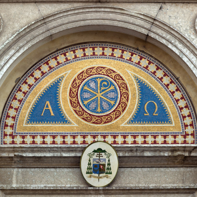 """""""Mosaic above the entrance of a cathedral"""" stock image"""