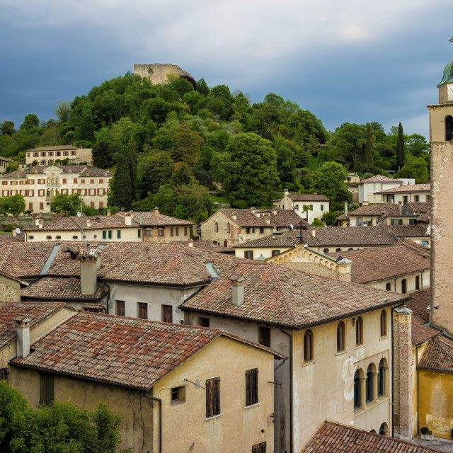 """""""Panoramic view of Asolo, a picturesque italian village"""" stock image"""