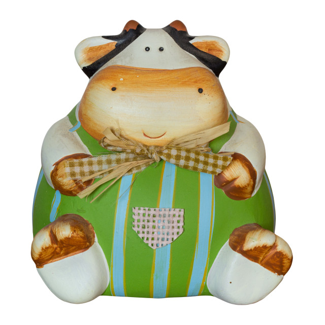 """""""Cute cow-shaped piggy bank in decorated ceramic"""" stock image"""
