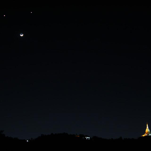 """night sky with moon"" stock image"