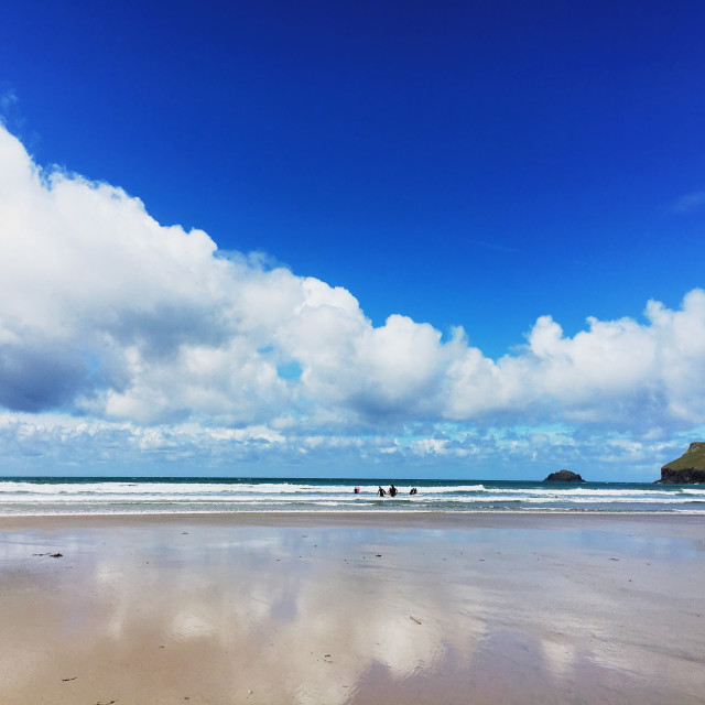 """Reflections at Polzeath"" stock image"