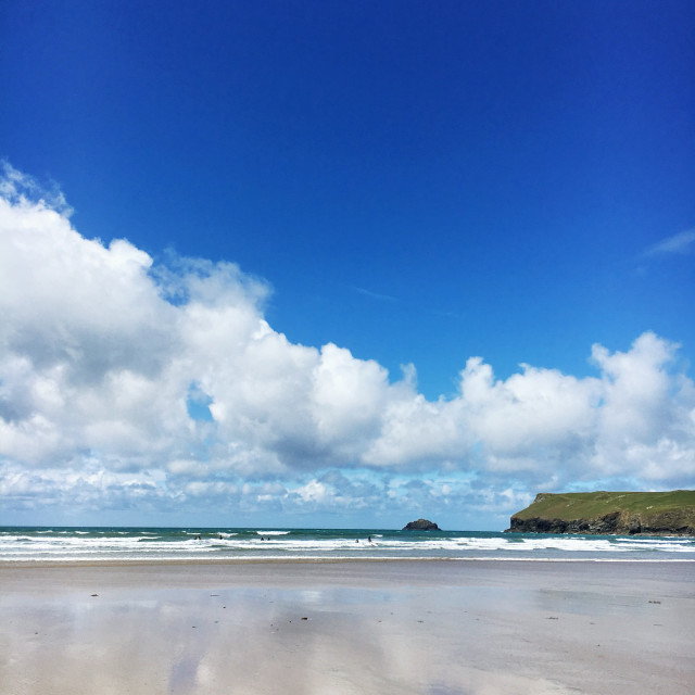"""Polzeath Reflections"" stock image"