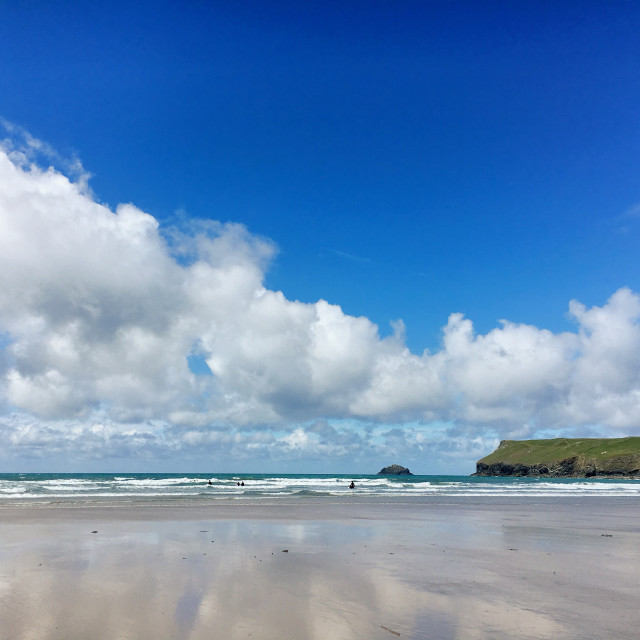 """Beautiful Polzeath"" stock image"