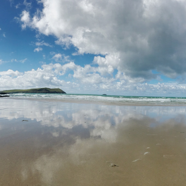 """Panoramic Polzeath"" stock image"