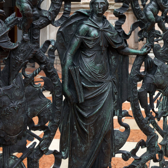 """""""Detail of the railing of the entrance of Venice bell tower"""" stock image"""