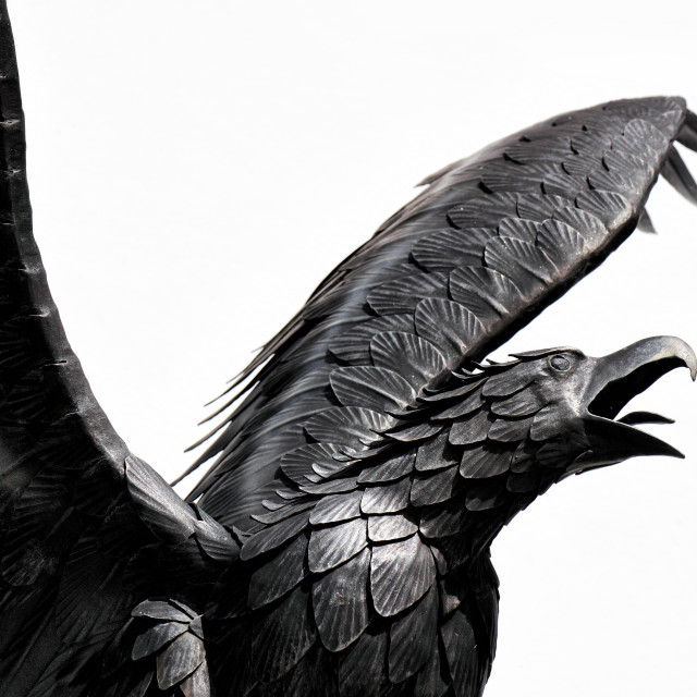 """""""Detail of the metal sculpture of an eagle"""" stock image"""