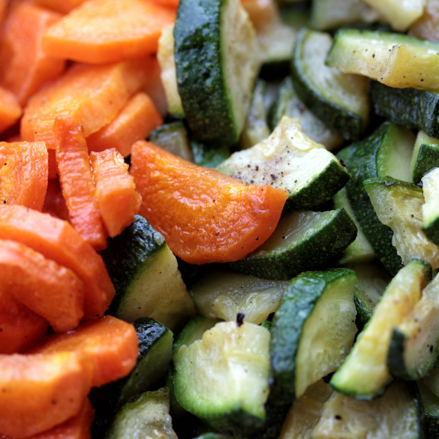 """""""Carrots and zucchini cut into pieces"""" stock image"""