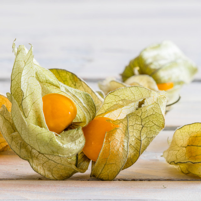 """""""Close-up of golden berries on a table"""" stock image"""